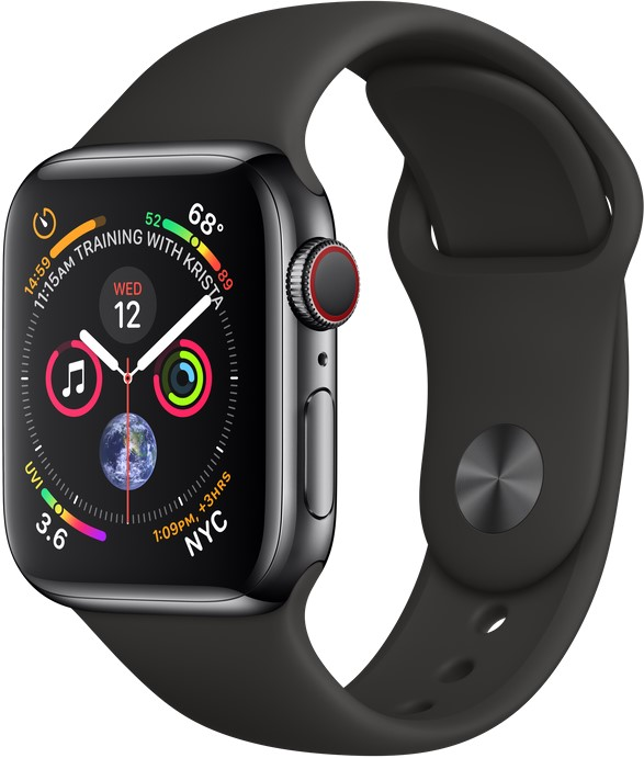 Смарт-часы Apple Watch Series 5 GPS + Cellular 44mm Space Black Stainless Steel Case with Black Sport Band