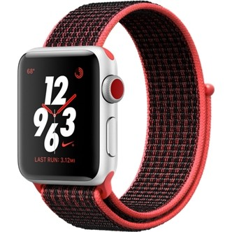 Смарт-часы Apple Watch Nike+ Series 3 GPS + Cellular 38mm Silver Aluminum w. Bright Crimson/BlackSport L. (MQL72)